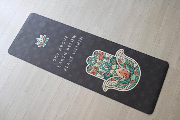 Mind Body Soul Yoga Mat Hamsa Hand 02