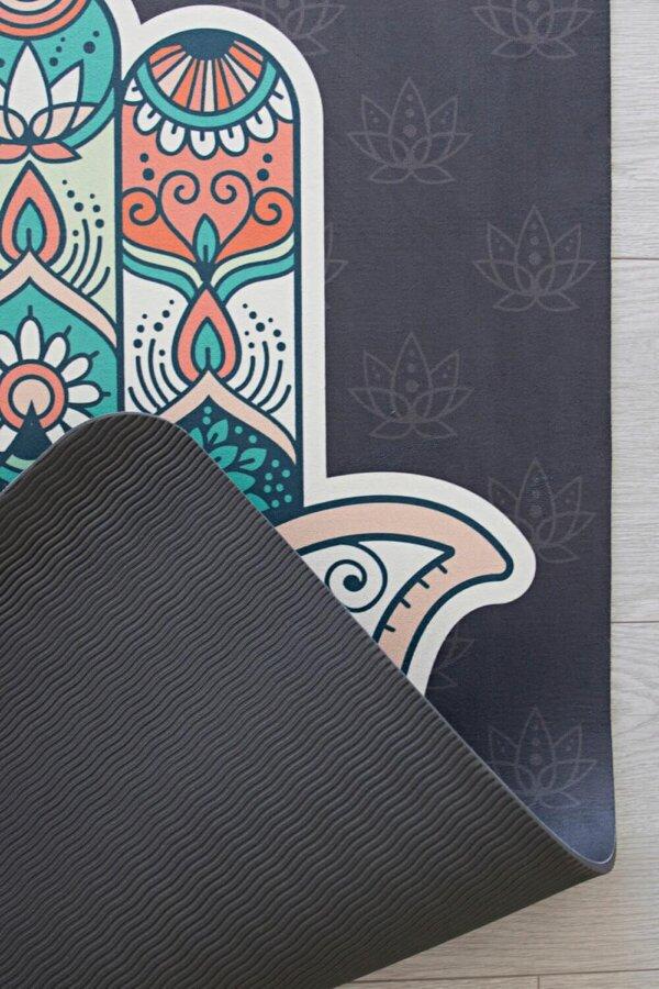 Mind Body Soul Yoga Mat Hamsa Hand 09